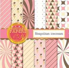 Neapolitan digital paper, neapolitan ice cream digital paper, pink and brown digital paper