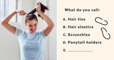"""An In-Depth Look at the Great """"Hair Tie"""" vs. Up Hairstyles, Hairstyle Ideas, Cute Words, Now And Forever, Ponytail Holders, Great Hair, Hair Ties, Hair Band, Medium Hair Styles"""