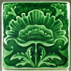 Arts and Crafts tile, Flower tile, Gift tile, Accent tile, Art tile, Ceramic tile, 6x6, backsplash tile, fireplace tile by CampbellTileworks on Etsy