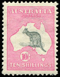AUSTRALIA - Kangaroos - First Watermark 10/- Grey & Pink few blunt perfs, mint, Cat $2,000. Dealer Phoenix Auctions Auction Starting Price...