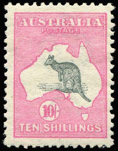 AUSTRALIA - Kangaroos - First Watermark 10/- Grey & Pink few blunt perfs, mint, Cat $2,000.  Dealer Phoenix Auctions  Auction Starting Price...