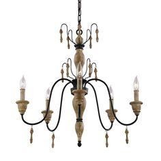 Murray Feiss F2973/5 Matrimonio 5 Light 1 Tier Chandelier Driftwood / Dark Weathered Zinc Indoor Lighting Chandeliers