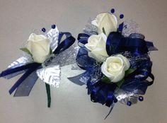 Navy Blue Silk Corsage n Boutonniere Set by FlorescenceByDesign, $26.95