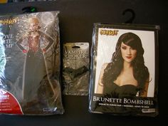 Vampire Costume Women Large 12-14 Wig Necklace Complete Dress Gloves Capelet NWT #Spirit #CompleteOutfit #Halloween