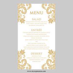 Wedding Menu Card Template  Gold Damask  by MyExpressionShop, $7.95