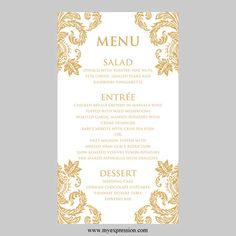 Wedding Menu Card Template  Gold Damask  by MyExpressionShop, $7.95