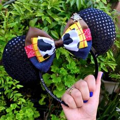 Items similar to Cowboy Mouse Ears on Etsy Diy Disney Ears, Disney Mickey Ears, Disney Bows, Minnie Bow, Disney Day, Mickey Mouse Ears, Disney Trips, Winnie The Pooh Ears, Micky Ears