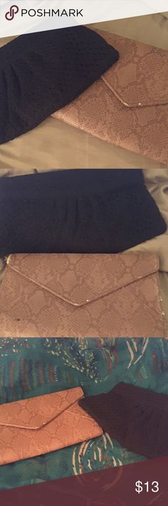 2 FOR 1 FASHION CLUTCH BAGS Two fashionable envelope clutch bags. The pink  bag is gently used faux snakeskin  material by Urban expressions. The black clutch is brand new with tag never worn with  clasp opening and weave style material Old Navy Bags Clutches & Wristlets