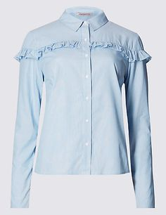 Pure Cotton Frill Striped Blouse | M&S