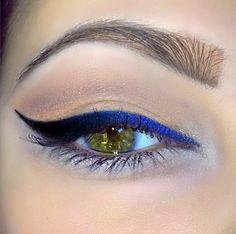 "Ombré liner. High Intensity Pigments cream eyeliner in ""midnight blue"" & Kat Von D tattoo eyeliner in ""Trooper Ink Black""."