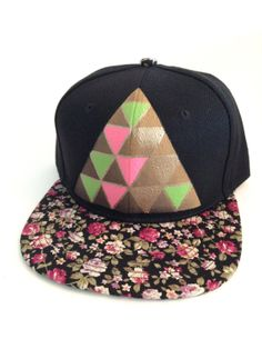 Geometric Floral Snap Back Hat Triangle Pyramid by StarSeventeen 9d86b4cd35e5