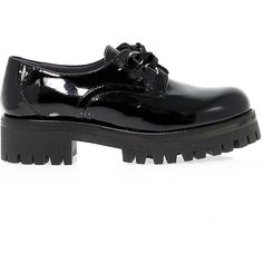 Cesare Paciotti 4us Flat Shoes ($270) ❤ liked on Polyvore featuring shoes, flats, patent leather shoes, kohl shoes, patent flats, black patent leather flats and black rubber sole shoes