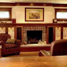 Earthwood Builders Inc.: Craftsman built-ins featuring stained glass & tile surround