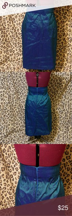 Blue/Green High Waisted Pencil Skirt High Waisted Pencil Skirt *Pinned To Fit Dress Form, Includes Zipper In Back, No Stretch, Looks Handmade, No Brand* Measurements Coming Soon Skirts