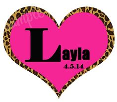 Leopard Animal Print Heart Bat Mitzvah Logo, Bat Mitzvah Gobos, Bat Mitzvah Logos, Party Favor Logos, Giveaway Logos, Bat Mitzvah, by Cutie Patootie Creations  www.cutiepatootiecreations.com