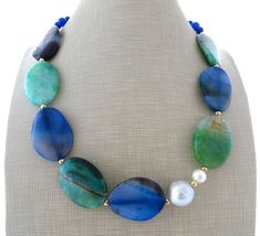 Green agate necklace blue stone choker baroque pearl