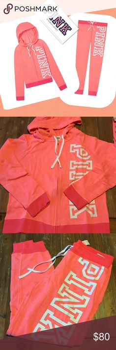NEW VS PINK Jogger Full Zip Set New with tags Victoria's Secret Pink matching set Includes full zip hoodie sweatshirt and classic joggers Color: Coral Size medium PINK Victoria's Secret Tops Sweatshirts & Hoodies