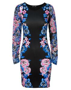 Floral Print Panelled Sheer Long Sleeve Bodycon Dress in Black