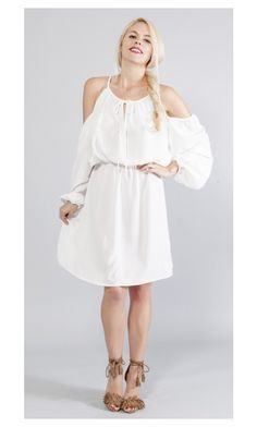 """Open Shoulder Strappy Dress"" by stylebookclosetcom ❤ liked on Polyvore"