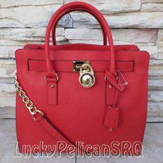Michael Kors Hamilton NS Large Mandarin Red Saffiano Satchel  Handbag Tote NWT  #MichaelKors #TotesShoppers