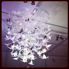 Oragami crane chandelier. I have something similar in mind.