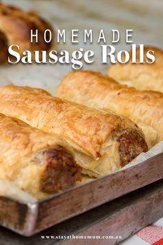 Our Sausage Roll Recipe Is Super Easy And Incredibly Yummy ; unser wurstbrötchen-rezept ist super einfach und unglaublich lecker Our Sausage Roll Recipe Is Super Easy And Incredibly Yummy ; Homemade Sausage Rolls, Recipe For Sausage Rolls, Thermomix Sausage Rolls, Best Sausage Roll Recipe, Healthy Sausage Rolls, Sausage Recipes For Dinner, Homemade Rolls, Dinner Rolls Recipe, Puff Pastry Recipes
