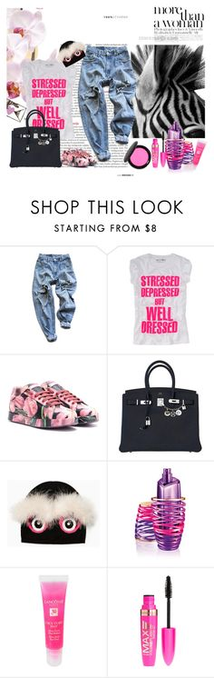 """""""Casual in città"""" by piccolauby ❤ liked on Polyvore featuring Levi's, Dolce&Gabbana, Hermès, Kate Spade, Justin Bieber, Lancôme, Rimmel and Stila"""