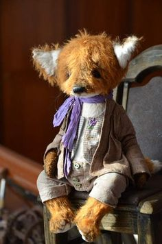 Fox Den By Evgenia Sidorenko - Fox is made from German mohair. Stuffed by sawdust and steel granulate.He had glass eyes. Clothes are made cotton, toning oil paints and pastels. 5 cotter pin joints Fox is toning oil paints and pastels and little bit vintage.