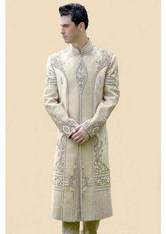Stylish Cream Colour Brocade Silk Sherwani - SH119