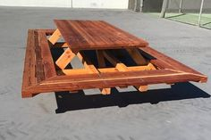 Custom Made Picnic Tables, Large Thru-Bolt Picnic Tables, Redwood Picnic Table. Wide Wrap Around Ben Picnic Table Plans, Kids Picnic Table, Outdoor Picnic Tables, Outdoor Seating, Pinic Table, Deck Planters, Window Planter Boxes, Modern Planters, Wood Projects