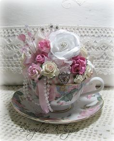 Pink And Blue Teacup Pincushion-teacup pincushion, pink roses, cottage, ribbons, teacup, gift, handmade, pink and blue, china, pearls, stick pins, shabby, chic