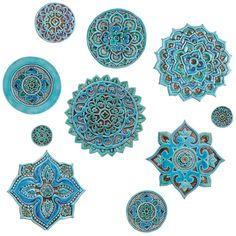 Arte della parete mandala in ceramica Set di 10 turchese di