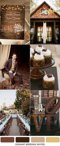 charming brown rustic fall and autumn wedding color inspiration