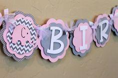 HAPPY BIRTHDAY Elephant Banner Light Baby Pink by PaisleyGreer