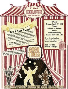 Lettering Delights - Tip of the Week: Circus/Flyer Poster using Photoshop Kids Talent, Talent Show, School Carnival, E 500, Relief Society Activities, Student Council, Big Top, Circus Party, Activity Days