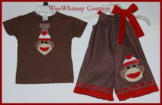 Brother Sister Set Applique Sock Monkey Tie tee & Ruffled Shortall / Romper
