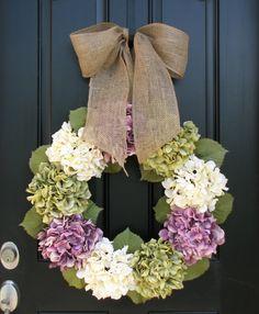 Country Shabby Chic Decor Wreaths 23 Hydrangea por twoinspireyou
