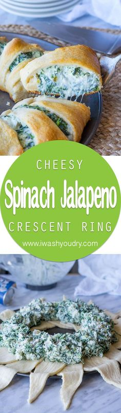 This Cheesy Spinach Jalapeño Crescent Ring is loaded with cream cheese monterey jack cheese spinach and diced pickled jalapeños. It's so easy to make and EVERYONE loves it!