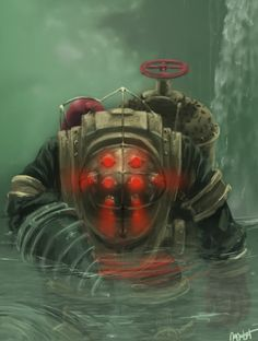 Playing around with my digital camera and Bioshock Big Daddy figure (from the collectors box). Made in Photoshop. All trademarks belong to Games Australia) blah blah blah. Bioshock 2, Bioshock Infinite, Bioshock Rapture, Bioshock Series, Video Game Art, Video Games, Obey Art, Drawn Art, Fanart