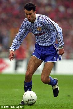 Current assistant manager Ryan Giggs famously wore the funky blue and white kit Manchester United Images, Manchester United Legends, Manchester United Players, Retro Football Shirts, Vintage Football, Adidas Kit, Cristiano Ronaldo Lionel Messi, Premier League Champions, Association Football