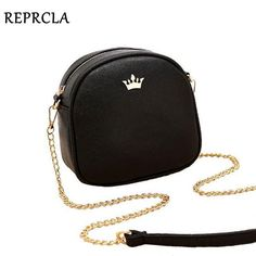 d03229c60028 2017 New Brand Designer Women Messenger Bags Chain Strap Shoulder Bag High  Quality Handbags PU Leather Crossbody With Crown