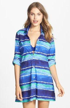 Tommy Bahama 'Water Waves' High/Low Cover-Up Boyfriend Shirt available at #Nordstrom