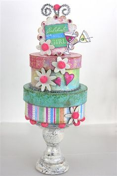 Paper mache boxes all decked out with scrapbook paper on a candlestick? Super table centre for a birthday party. Paper Cake, Cake Art, Cupcakes, Cupcake Cakes, Paper Mache Boxes, Paper Boxes, Gift Box Cakes, Paper Crafts, Diy Crafts