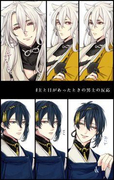 Kogitsunemaru x Mikazuki Hot Anime Boy, Anime Love, Anime Guys, Touken Ranbu Characters, Anime Characters, Touken Ranbu Mikazuki, Chibi, Boy Drawing, My Fantasy World