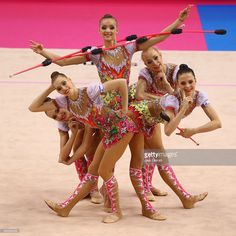 Gymnasts of the team of Russia perform during the group all-arround competition of the GAZPROM World Cup Rhythmic Gymnastics at Porsche Arena on March 2014 in Stuttgart, Germany. Amazing Gymnastics, Artistic Gymnastics, Gymnastics Girls, Sports Gif, Stuttgart Germany, Ballroom Hair, Rhythmic Gymnastics Leotards, Out Of Shape, World Cup