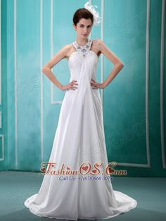 Halter Top Beaded Chiffon White 2013 New Arrival Wedding Dress For Hottest Customize  http://www.fashionos.com  http://www.facebook.com/fashionos.us  A striking and sparkling dress, simple but stunning. It features a flattering pleated bust with heavily beaded halter neckline just like a pretty necklace, showing just enough skin to be classy without being too revealing. The floor length skirt continues from the high waistline and creates a feeling of flowy.