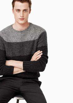 Mango 2015 - renk bloklu kazak Boy Fashion, Mens Fashion, Formal Men Outfit, Crochet Jacket, Smocking, Lana, Men Dress, Knitwear, Knitting Patterns