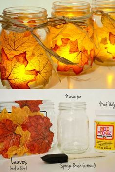 Thanksgiving decoration, DIY Thanksgiving decoration table, Thanksgiving decoration ideas, Autumn leaves mason jar