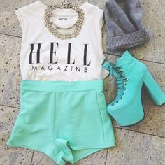 Shorts: amazing, high waisted short, mint, hell magazine, tank top, mint pants, high heels, necklace, outfits, crop tops, white, grey top, graphic tee - Wheretoget