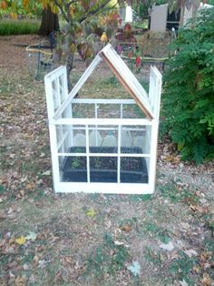 Quick diy greenhouse made from salvaged windows.